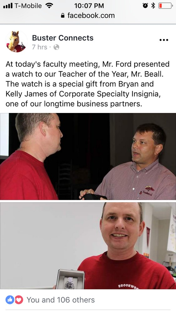 Brookwood High Principal Ford Recognizes Teacher Of The Year